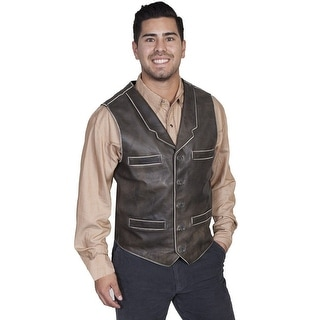 Scully Western Vest Mens Manly Quality Sanded Calf Leather Button 410