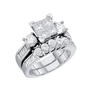 MidwestJewellery 1ctw Diamond Wedding Ring Set for Her 10K White Gold Princess Cut Round and Baguettes 2pc Set - White I-J