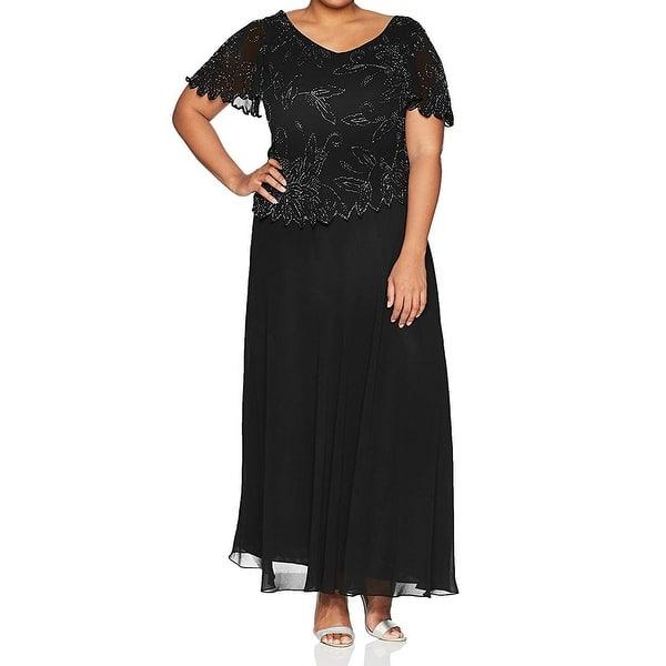 Shop J Kara Womens Dress Deep Black Size 18W Plus Gown ...