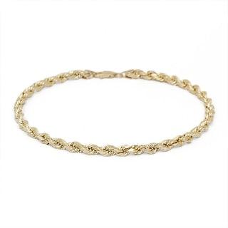 Mcs Jewelry Inc  14 KARAT YELLOW GOLD SOLID DIAMOND CUT ROPE CHAIN BRACELET (2.5MM)