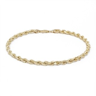 Mcs Jewelry Inc 14 KARAT YELLOW GOLD SOLID DIAMOND CUT ROPE CHAIN BRACELET (2.5MM)