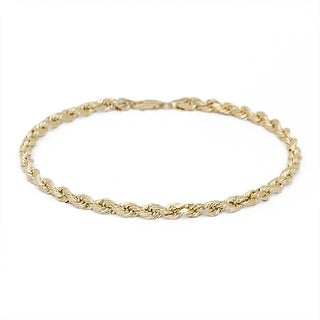 Mcs Jewelry Inc 10 KARAT YELLOW GOLD DIAMOND CUT ROPE CHAIN BRACELET (1.5MM)