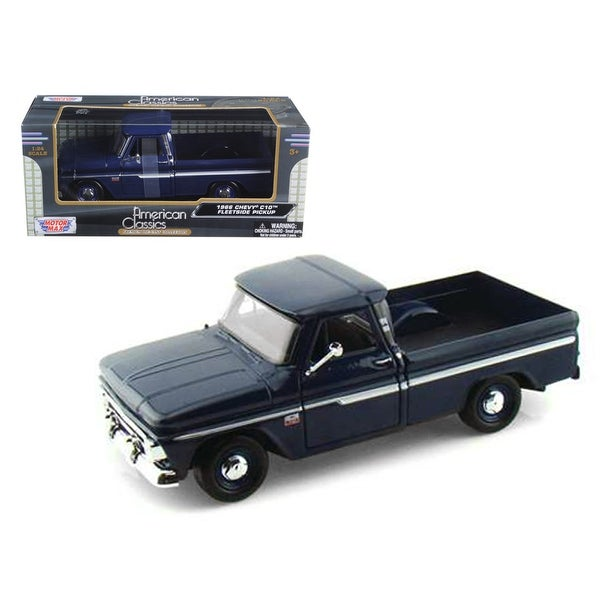 1966 Chevrolet C10 Fleetside Pickup Truck Dark Blue 1/24 Diecast Car Model by Motormax