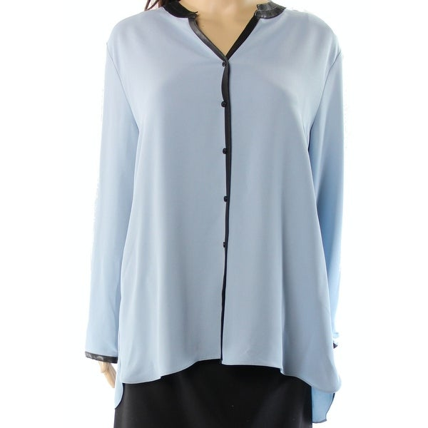 aee241b4d0314 Shop Alfani NEW Light Blue Black Women s Size 12 Faux-Leather Trim Blouse -  Free Shipping On Orders Over  45 - Overstock - 18369560