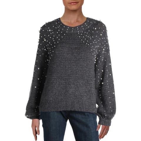Aqua Womens Sweater Embellished Knit - Grey - M