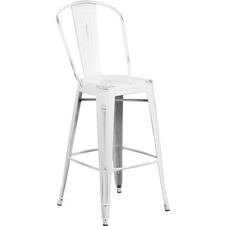 """Brimmes 30"""" High Metal Barstool Distressed White w/Curved Vertical Slat"""