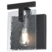 """Westinghouse 6351900 Zane 1-Light 9"""" Wide Bathroom Sconce with Water Glass Shade - MATTE BLACK - n/a"""