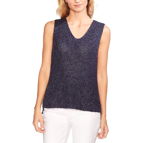 Vince Camuto Womens Tank Top Sweater Metallic Double V