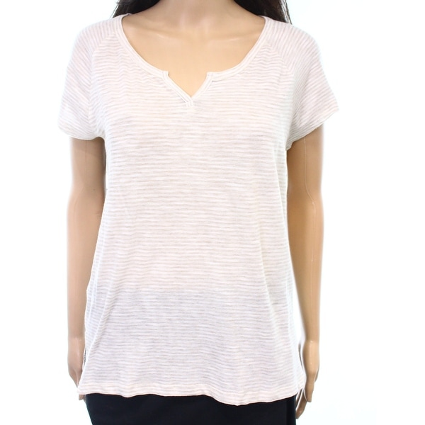 8c66296ff336c Shop Madewell NEW Beige Women s Medium M V-Neck Pinstriped Basic Tee Shirt  - Free Shipping On Orders Over  45 - Overstock.com - 21110770