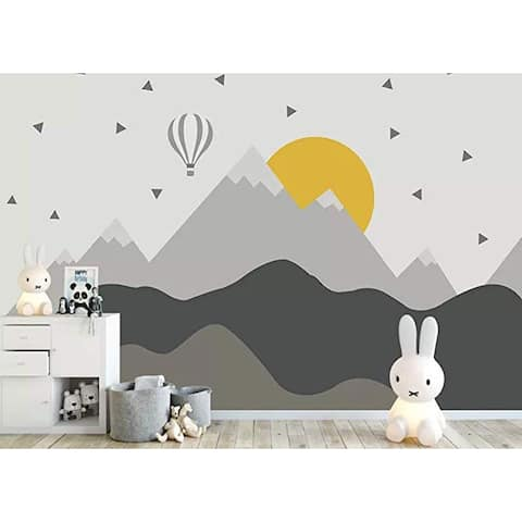 Hot Air Balloon Kids Mountain Textile Wallpaper