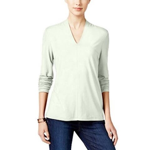 Charter Club Women's V-Neck Knit Top, Ivory (PS)