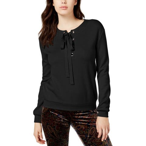 JOA Womens Juniors Sweatshirt Grommet Lace-Up