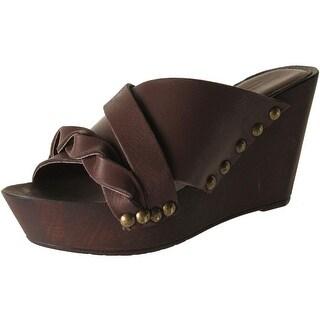 Charles David Womens Menum Leather Slide Wedge Sandals - 8