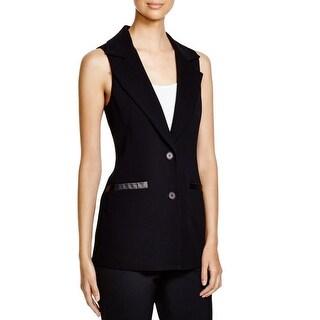 Dylan Gray Womens Suit Vest Faux Leather Trim Two-Button