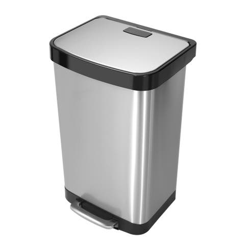 Innovaze 50 Liter Rectangle Shaped Step-On Stainless Steel Trash Can with Liner Rim