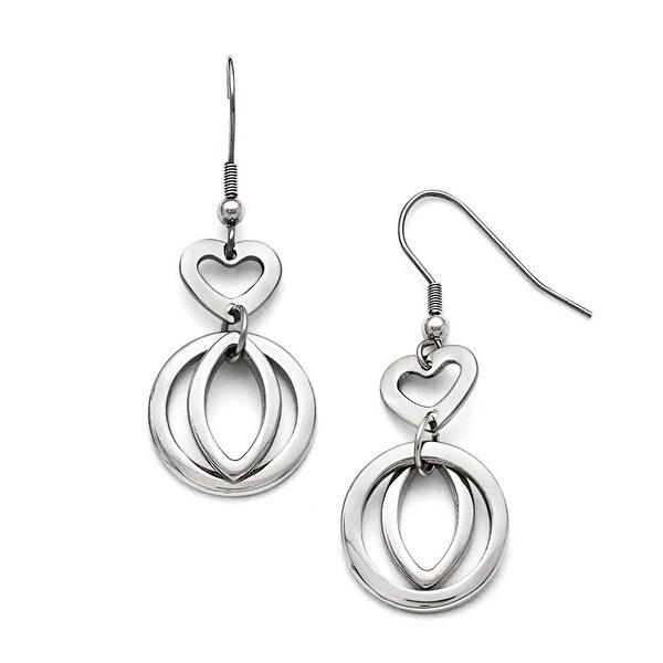 Chisel Stainless Steel Polished Heart Shepherd Hook Dangle Earrings