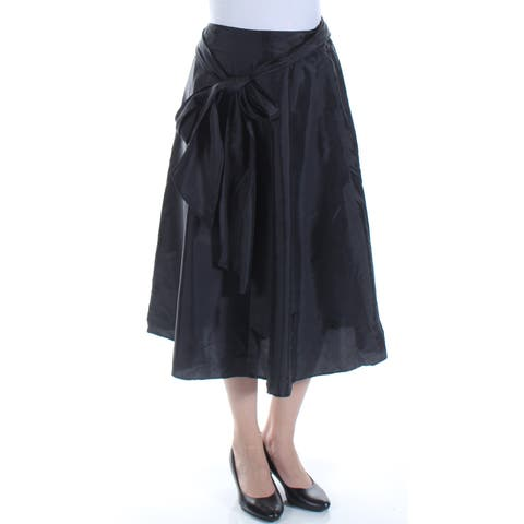 MSK Womens Black Belted Midi A-Line Skirt Size: S