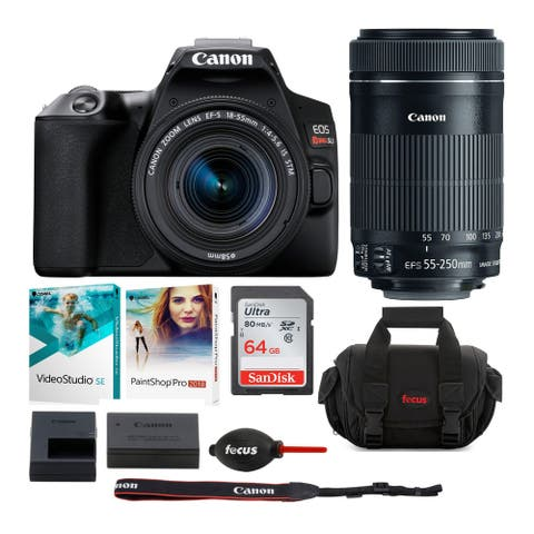 Canon EOS Rebel SL3 DSLR Camera w/18-55mm & 55-250mm Lenses Deluxe Kit (Black)