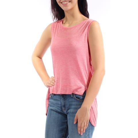 KIIND OF Womens Pink Sleeveless Jewel Neck Hi-Lo Top Size: M