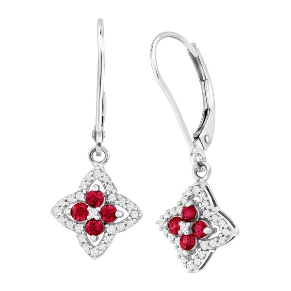 3/8 ct Created Ruby & 1/5 ct Diamond Drop Earrings in 10K White Gold