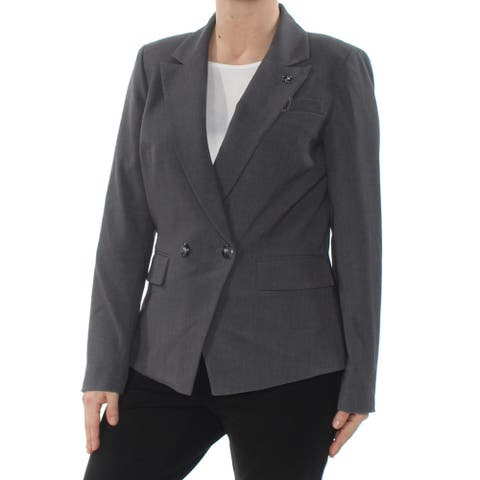 TAHARI Womens Gray One Button Blazer Wear to Work Jacket Size 6