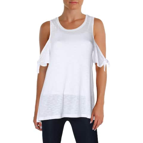 Bobeau Womens Pullover Top Knit Cold Shoulder