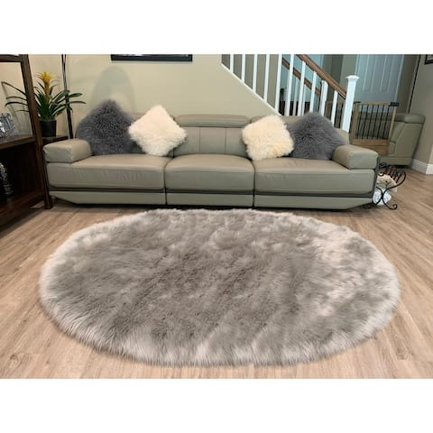 Ovella Home Premium Faux Sheepskin Plush Shag Oval Area Rug