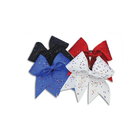 """Pizazz Girls Multi Color XL Scattered Stones 3"""" Ribbon Hair Bow - One Size"""
