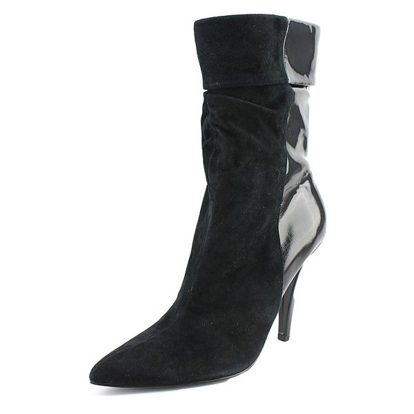Halston Antonia Women Pointed Toe Leather Black Mid Calf Boot