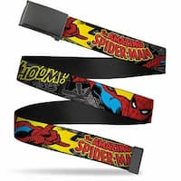 Marvel Comics blank Black  Buckle Spider Man In Action W Amazing Web Belt