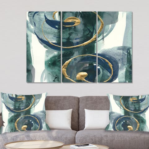Designart 'Indigo and Gold II' Posh & Luxe Canvas Wall Art