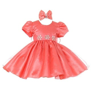 Baby Girls Coral Short Sleeve Sparkle Floral Stone Special Occasion Dress
