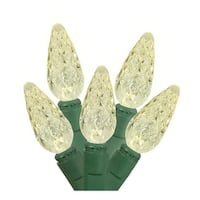 Battery Operated Warm White LED C6 Christmas Lights - Green Wire