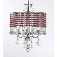 3-light Chandelier With Red Crystal Shade