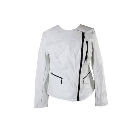 Alfani White Faux-Leather Moto Jacket S