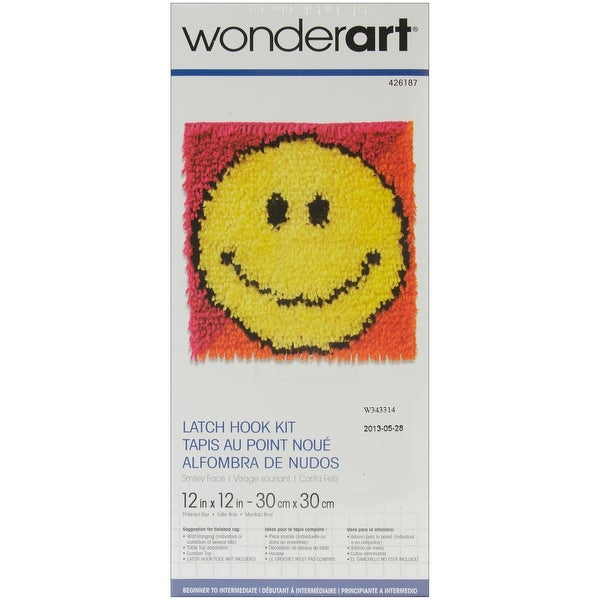 "Wonderart Latch Hook Kit 12""X12""-Smiley Face"