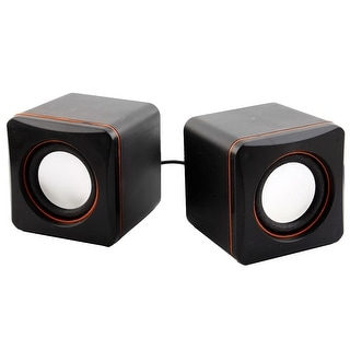 Unique Bargains 2pcs Black Orange USB 2.0 3.5mm Stereo Plug Computer MP3 MP4 Multimedia Speaker