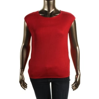 Calvin Klein Womens Ribbed Knit Jewel Neck Pullover Sweater