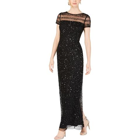 Adrianna Papell Womens Petites Evening Dress Beaded Formal - Black
