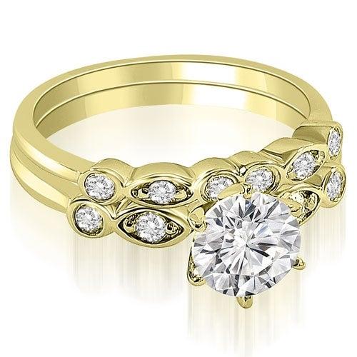 1.32 cttw. 14K Yellow Gold Vintage Round Cut Diamond Bridal Set