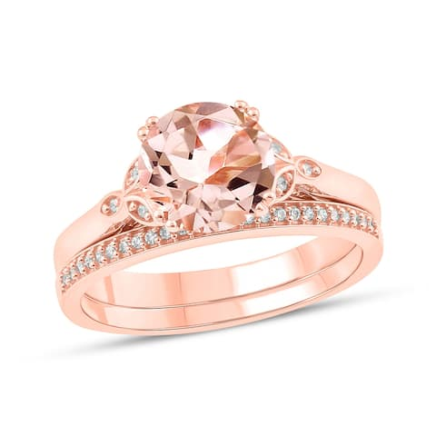 Cali Trove 925 Sterling Silver with Pink Plating in 1/10 ct TDW & Morganite fashion ring.