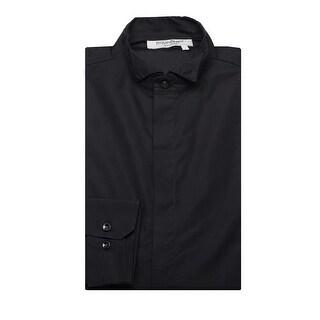 Yves Saint Laurent Men's Cotton Wing Collar Dress Shirt Black