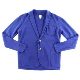 Hardy Amies NEW Blue Mens Small S Notch Collar Cardigan Wool Sweater