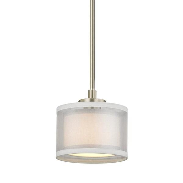 "Dolan Designs 1271 Double Organza 1-Light 7"" Wide Mini Pendant with Fabric Shade"