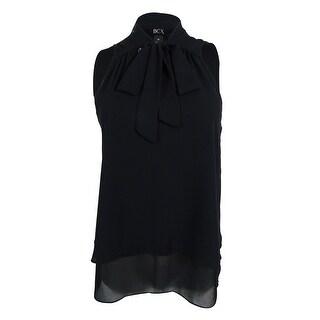 BCX Juniors' Sleeveless V-neck Top (Option: M - Black)