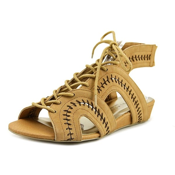 Very Volatile Rapport Women Open Toe Synthetic Tan Wedge Sandal