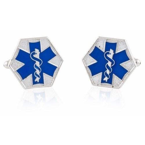 Emt Star Of Life Blue Cufflinks