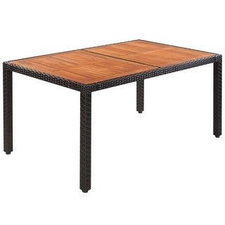 "vidaXL Outdoor Table Poly Rattan Acacia Wood Top 59""x35.4""x29.5"""