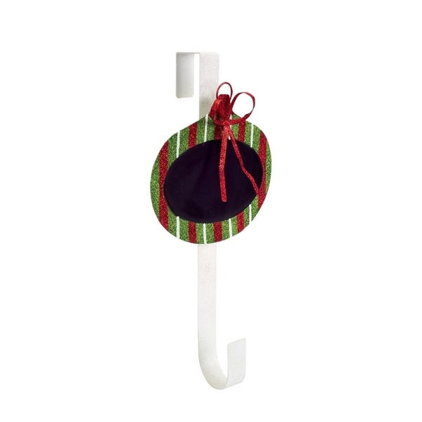 "18"" Decorative Red, Green and White Striped Chalkboard Christmas Ornament Wreath Door Hanger"