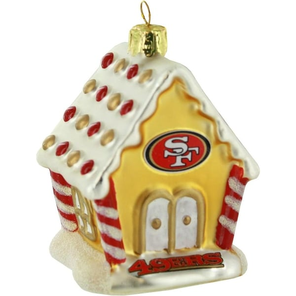 "San Francisco 49ers 3.5"" Blown Glass Gingerbread House Ornament"